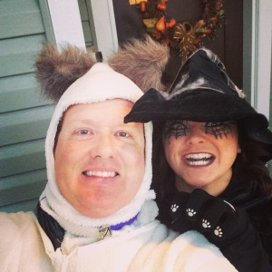 Halloween 2014, my BFF and neighbour Jenn and I dressed up on my front porch to hand out candy