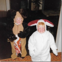 Me as a happy mouse, my sister as a sad rabbit.